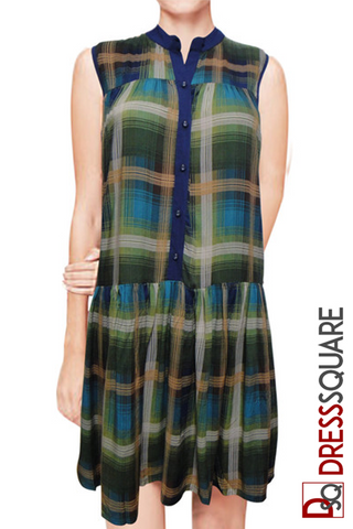 Green checkered henley dress