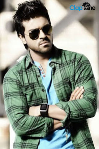 Ram Charan Green Shirt In Orange