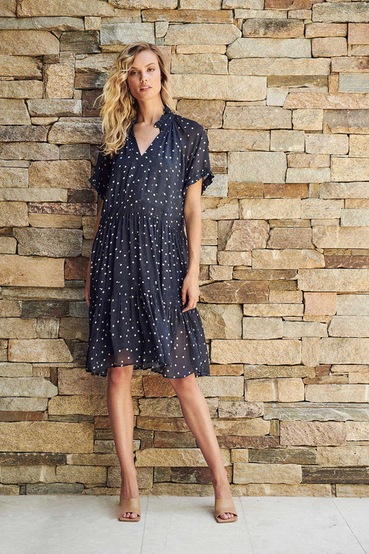 SABINA SPOTTED DRESS - NAVY