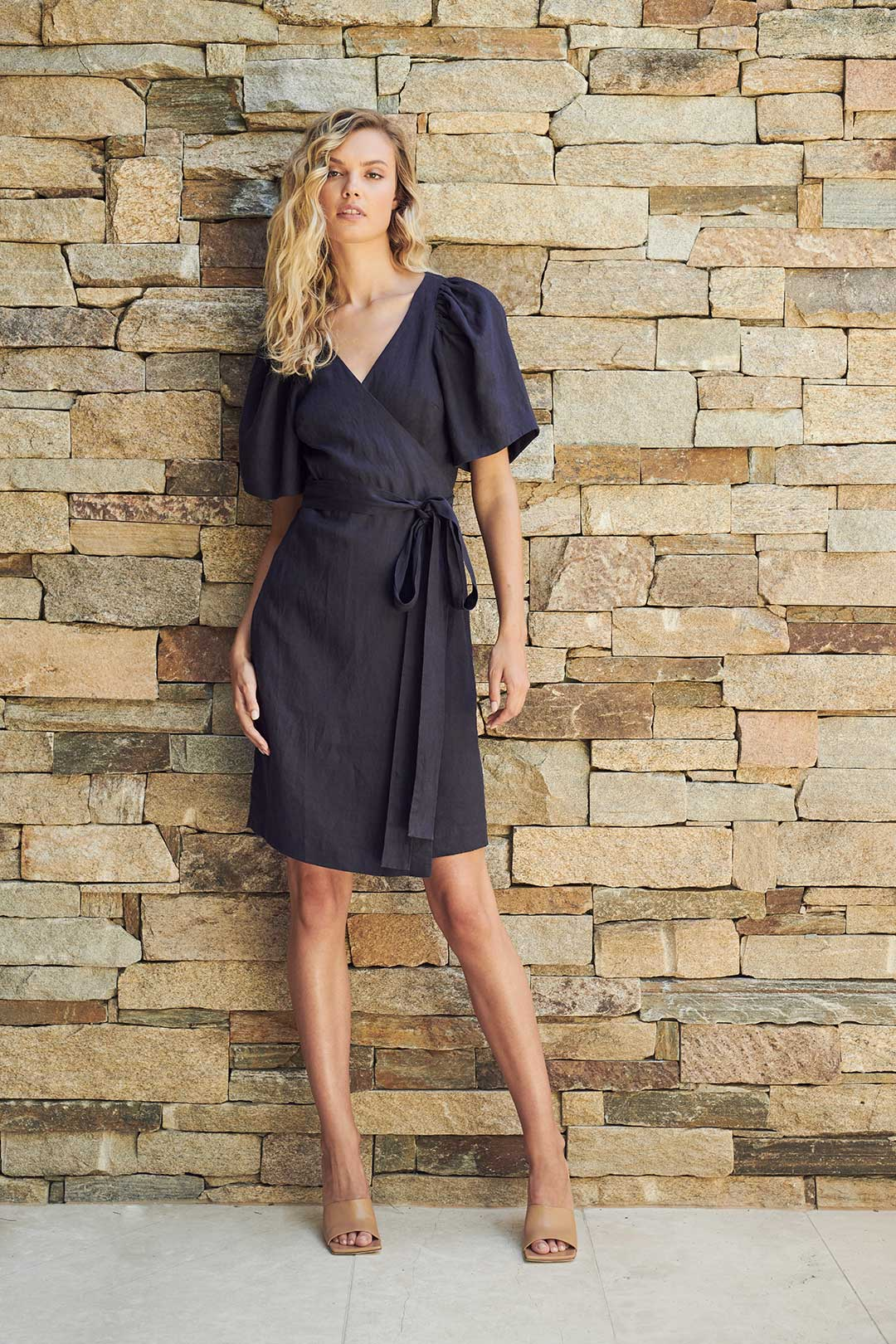 TAREN LINEN DRESS - NAVY