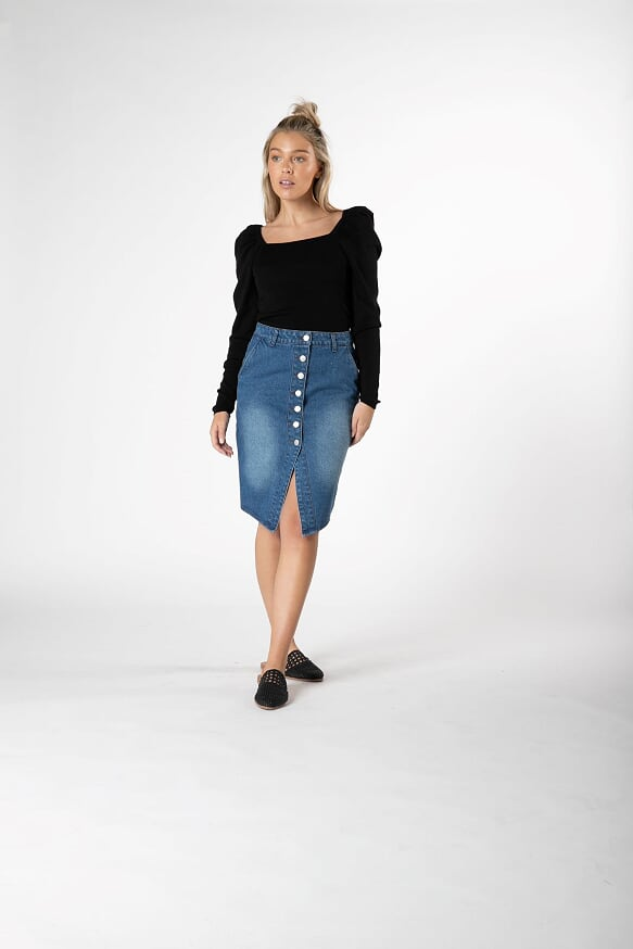 Carey Denim Skirt - Indigo
