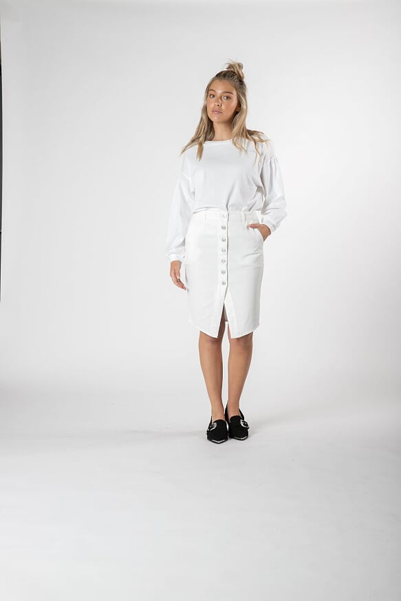 Carey Denim Skirt - White