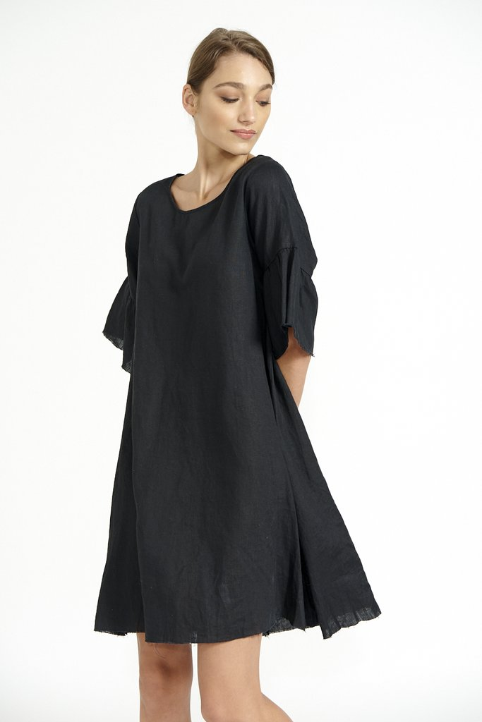 ALESSANDRA  FRAYED EDGE DRESS IN BLACK $189.95
