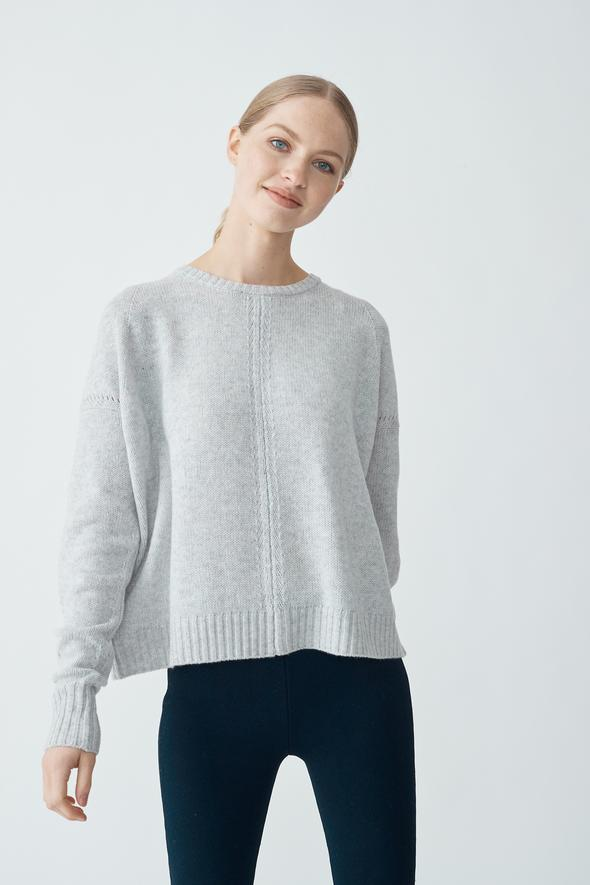 ISABELLA CROP SWEATER IN FLY ASH