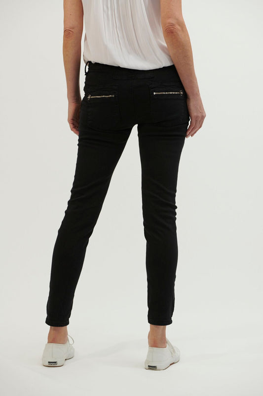 Italian Star Button Jeans - Black