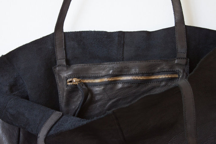 Juju & Co - Unlined Leather Tote - Black $250