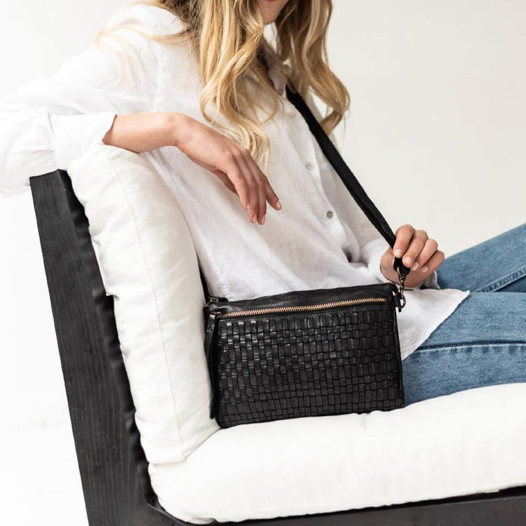 Juju & Co - Woven Crossbody -Black $245