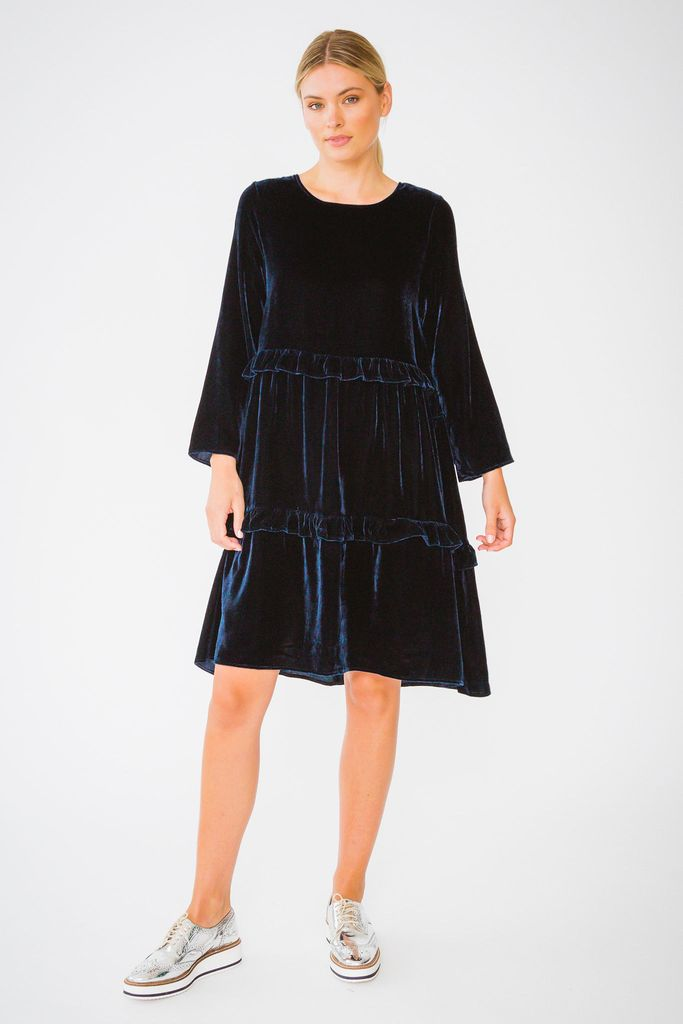 VELVET TOFFEE DRESS IN NAVY