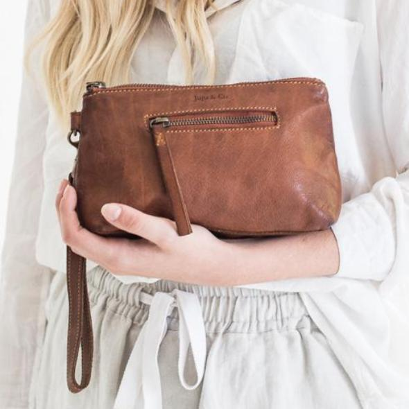 Juju & Co - Small Leather Essential Pouch - Tan, Cognac & Black $120
