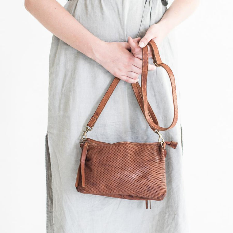 Small Perforated Shoulder Bag - Cognac