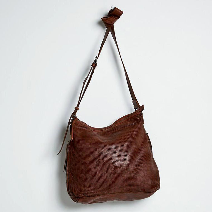 Juju & Co - Perforated Leather Slouchy - Cognac $350