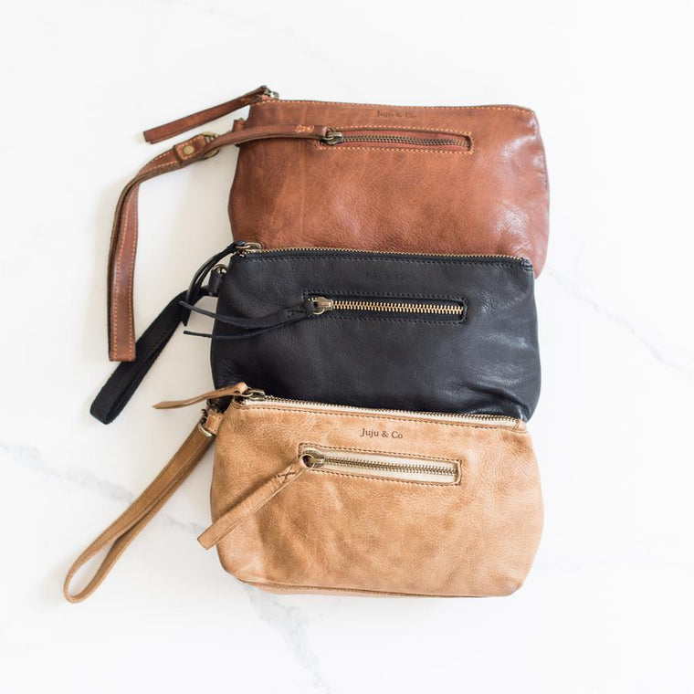 Small Leather Essential Pouch - Tan, Cognac & Black