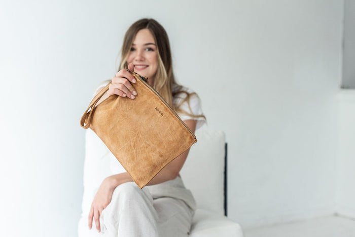 Juju & Co. -Large Flat Pouch. Available in 3 colours- Natural,Cognac and Black  $120.00