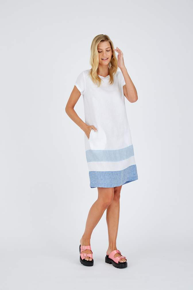 CONNIE LINEN DRESS IN WHITE