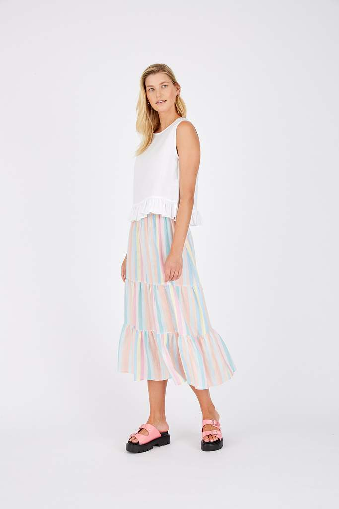 DELILAH SKIRT IN PASTEL RAINBOW