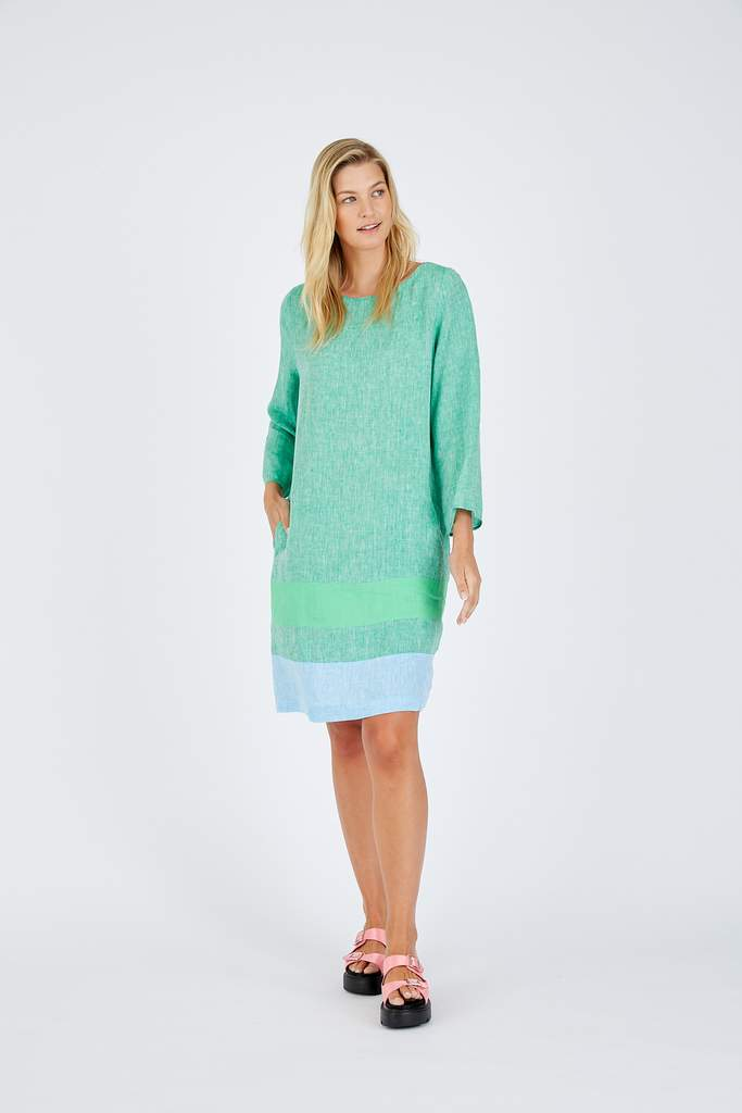 LONG SLEEVE CONNIE DRESS IN SNOWPEA