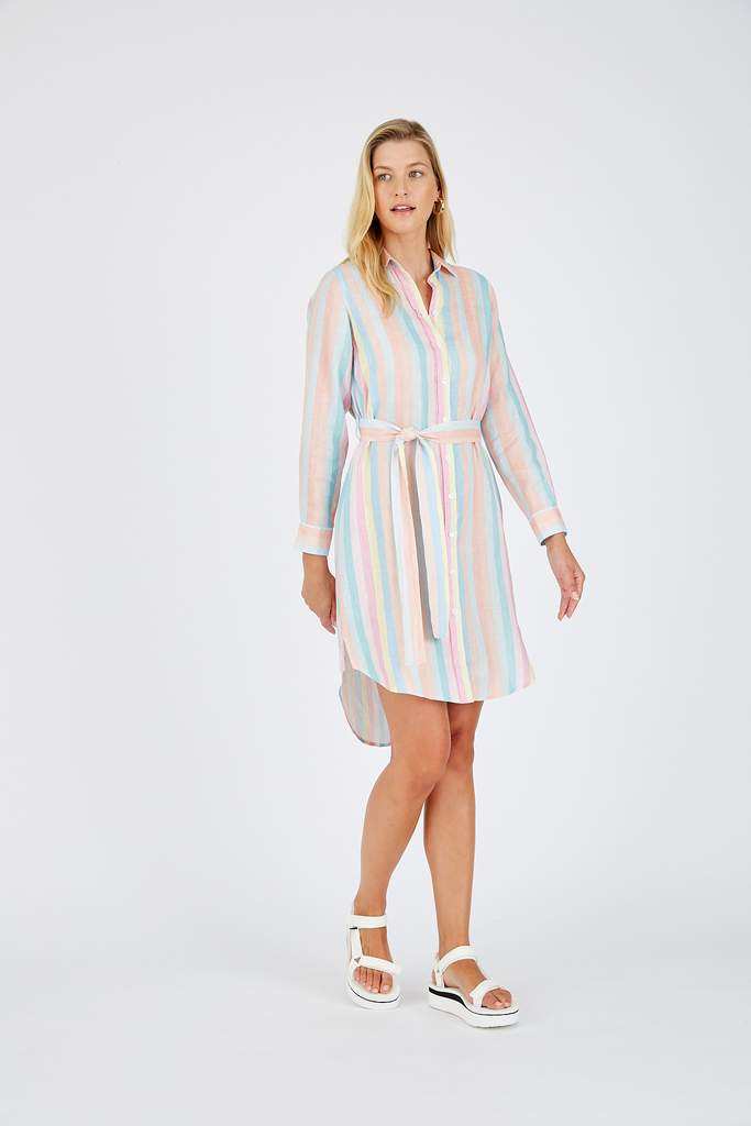 SHIRT DRESS IN PASTEL RAINBOW