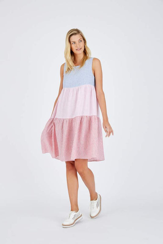 PICNIC SPLICE DRESS IN STRIPE SPLICE