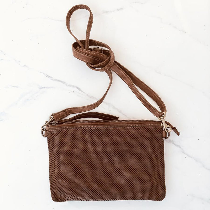 Juju & Co - Small Perforated Shoulder Bag - Cognac $249