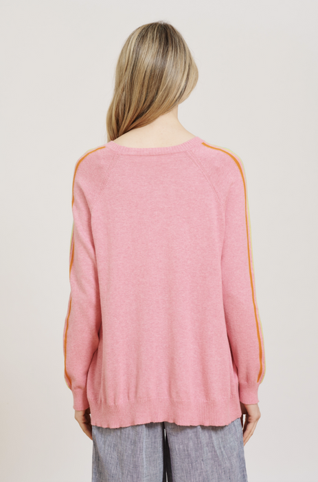 SORBET STRIPE SWEATER IN PINK LADY