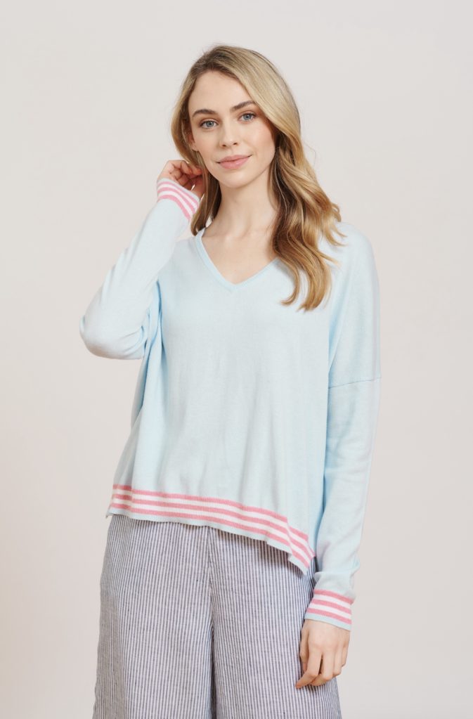 POCKET FULL OF LOVE SWEATER IN FROST BLUE