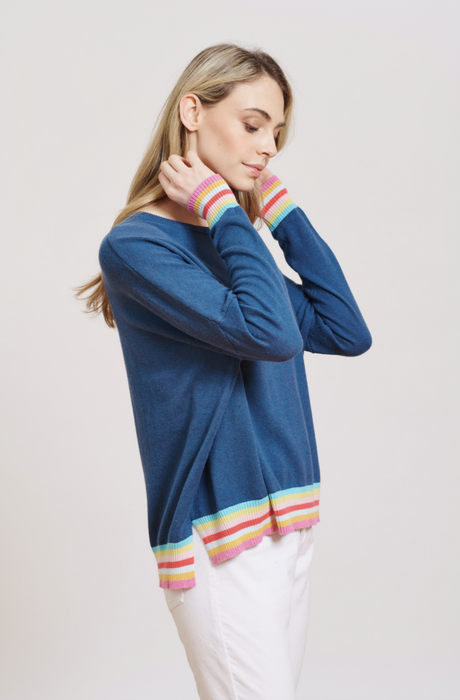 RAINBOW RIB SWEATER IN CLEAN DENIM