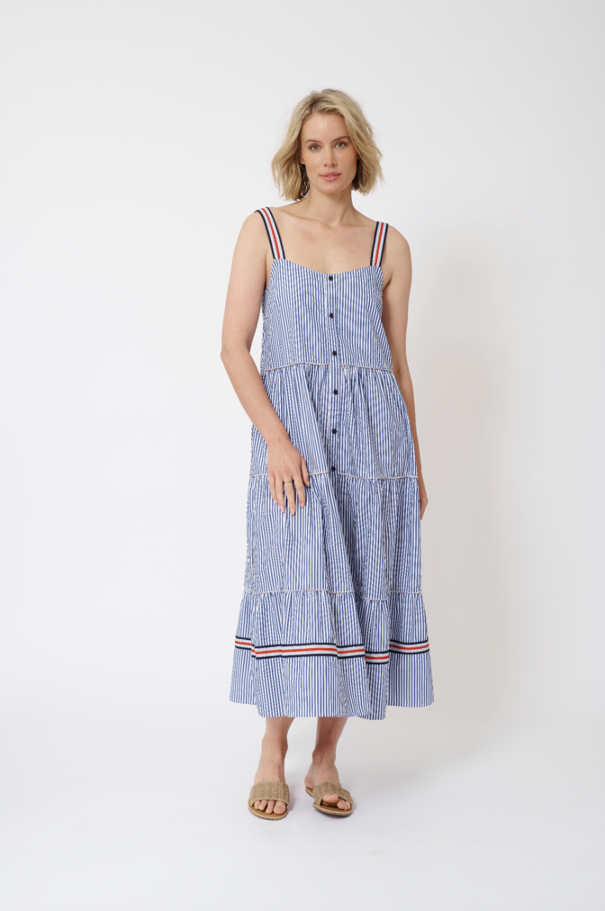 ESTELA MAXI COTTON POPLIN DRESS IN ROYAL STRIPE