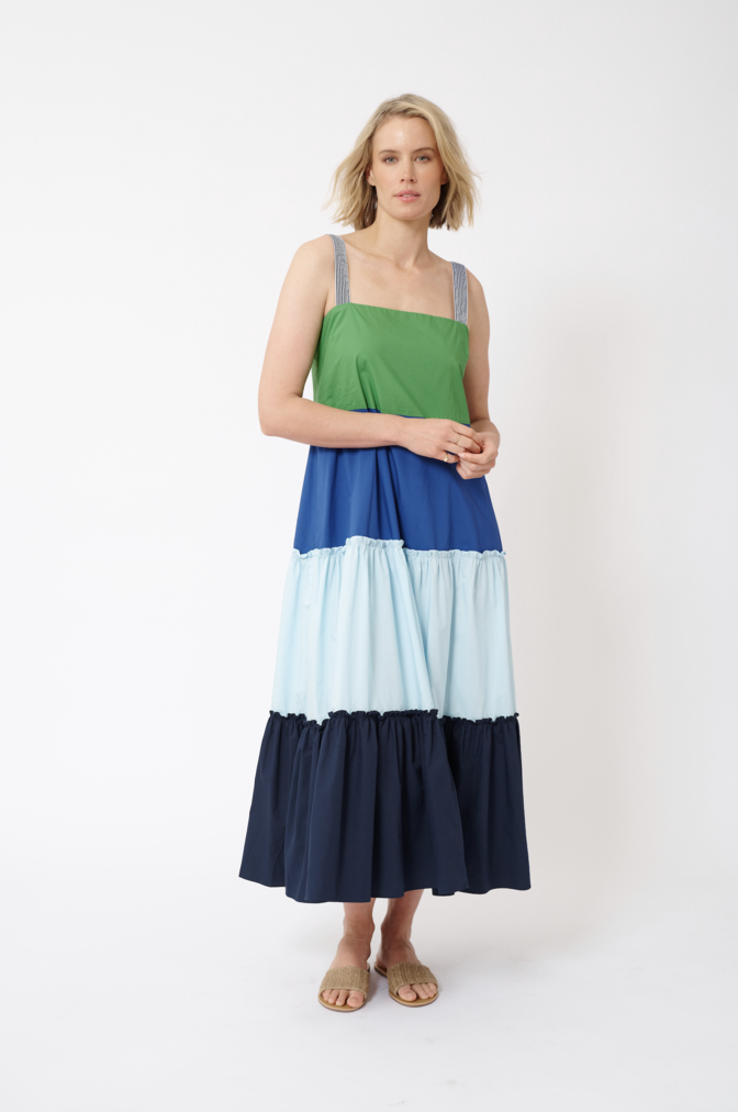 MAXI POP COTTON POPLIN DRESS IN EMERALD
