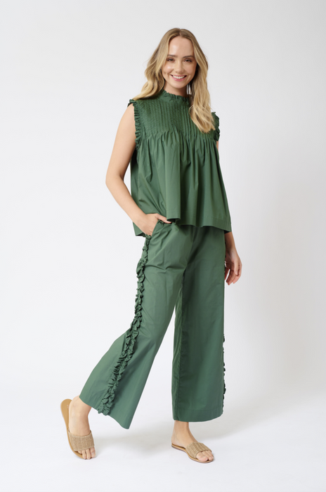 CHIQUITA COTTON POPLIN TOP IN FERN