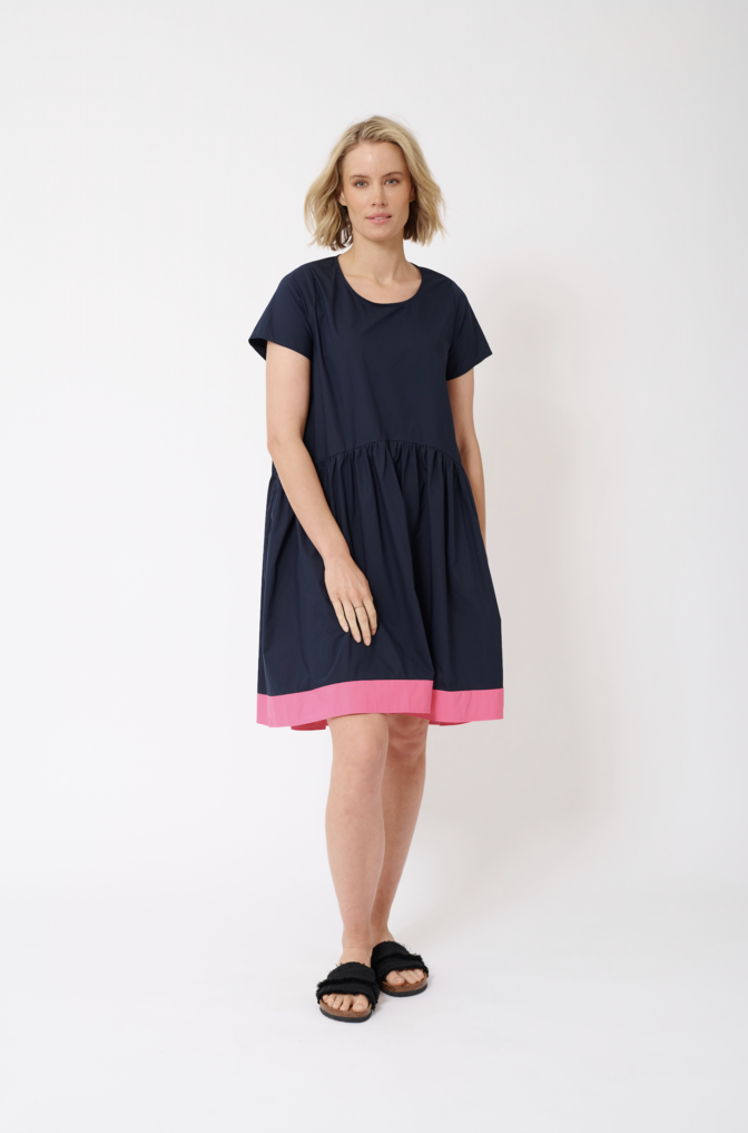 CELESTE COTTON POPLIN DRESS IN RASBERRY