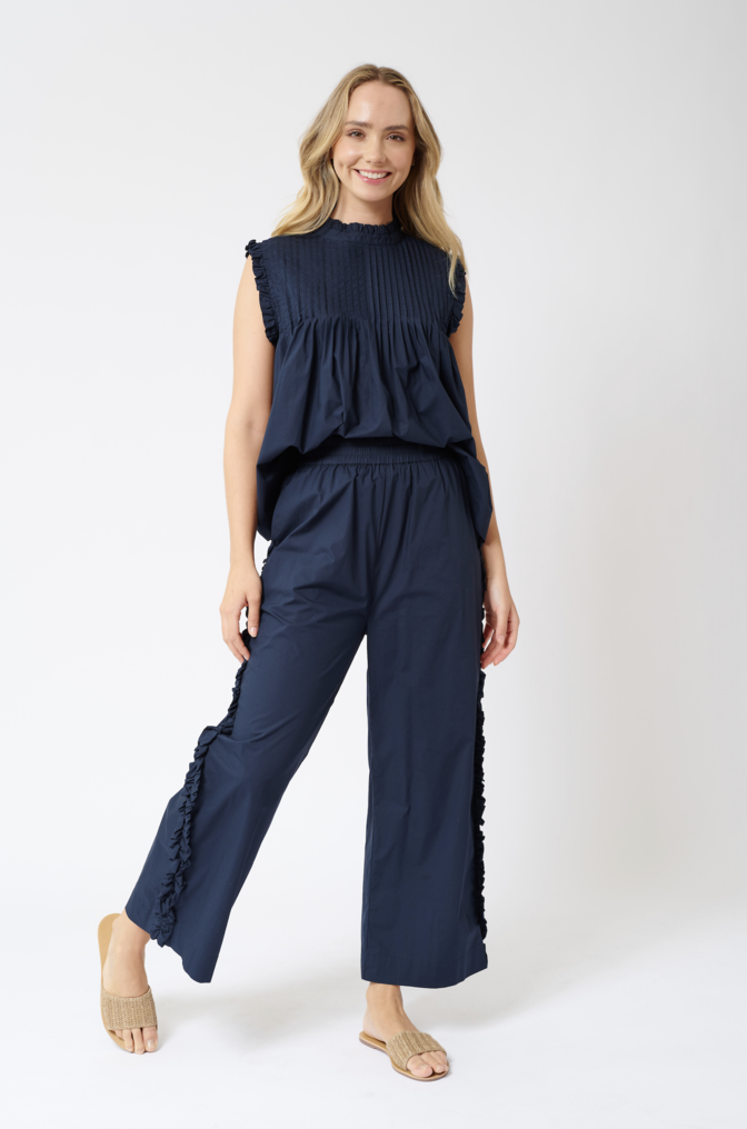 SAO PAULO COTTON POPLIN PANTS IN NAVY