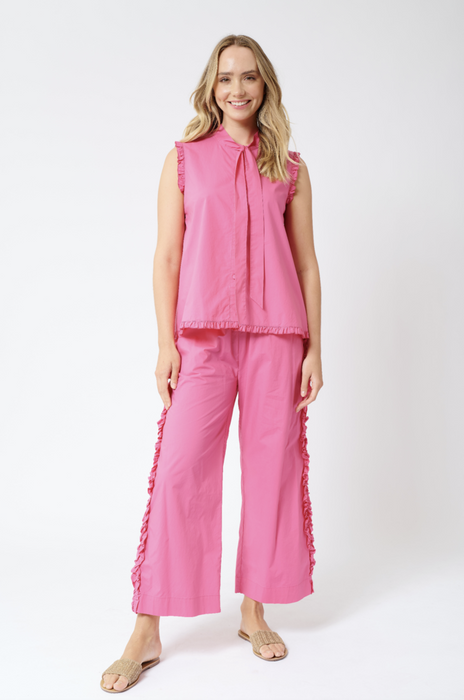 ISADORA TIE COTTON POPLIN TOP IN RASPBERRY