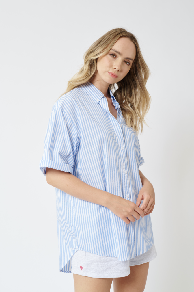 WEEKENDER COTTON SHIRT IN BLUE STRIPE
