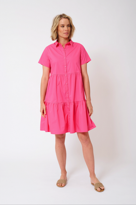 HAZEL COTTON POPLIN DRESS IN RASBERRY
