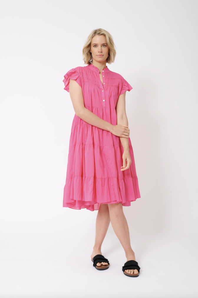GISELLE COTTON VOILE DRESS IN LIPSTICK