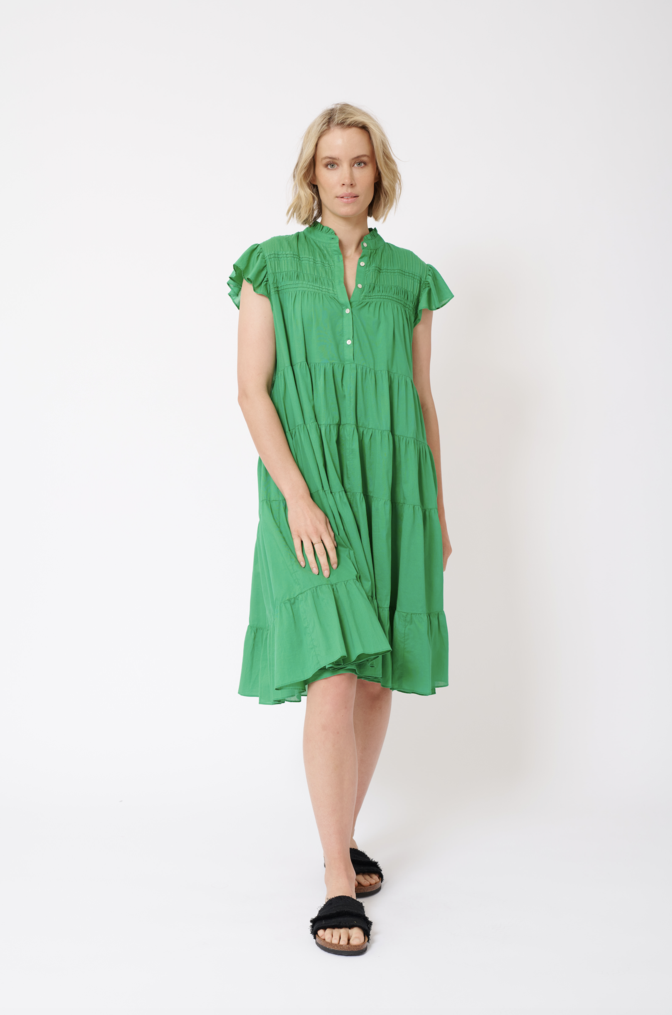 GISELLE COTTON VOILE DRESS IN EMERALD