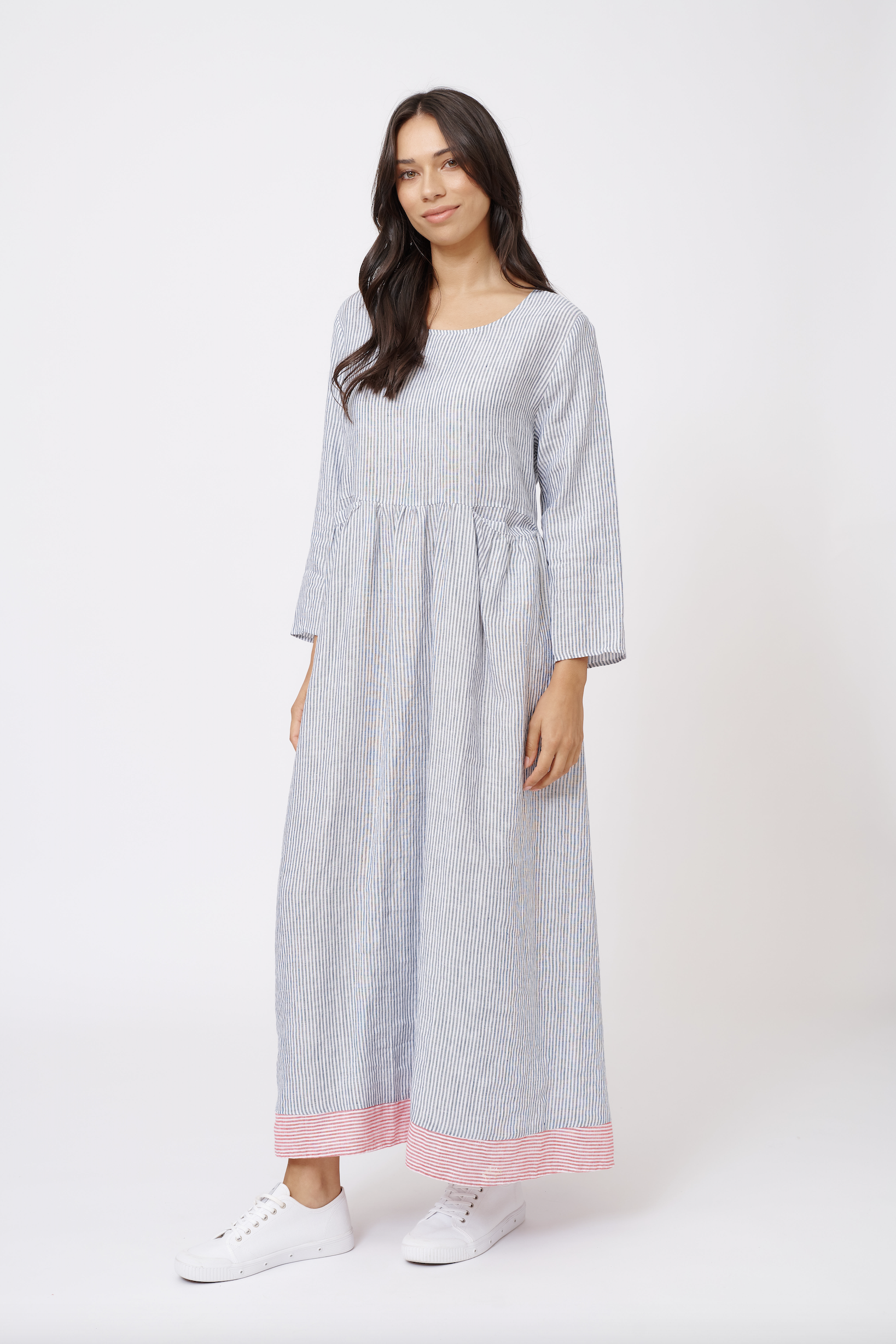 JESS LINEN DRESS IN NAVY STRIPE