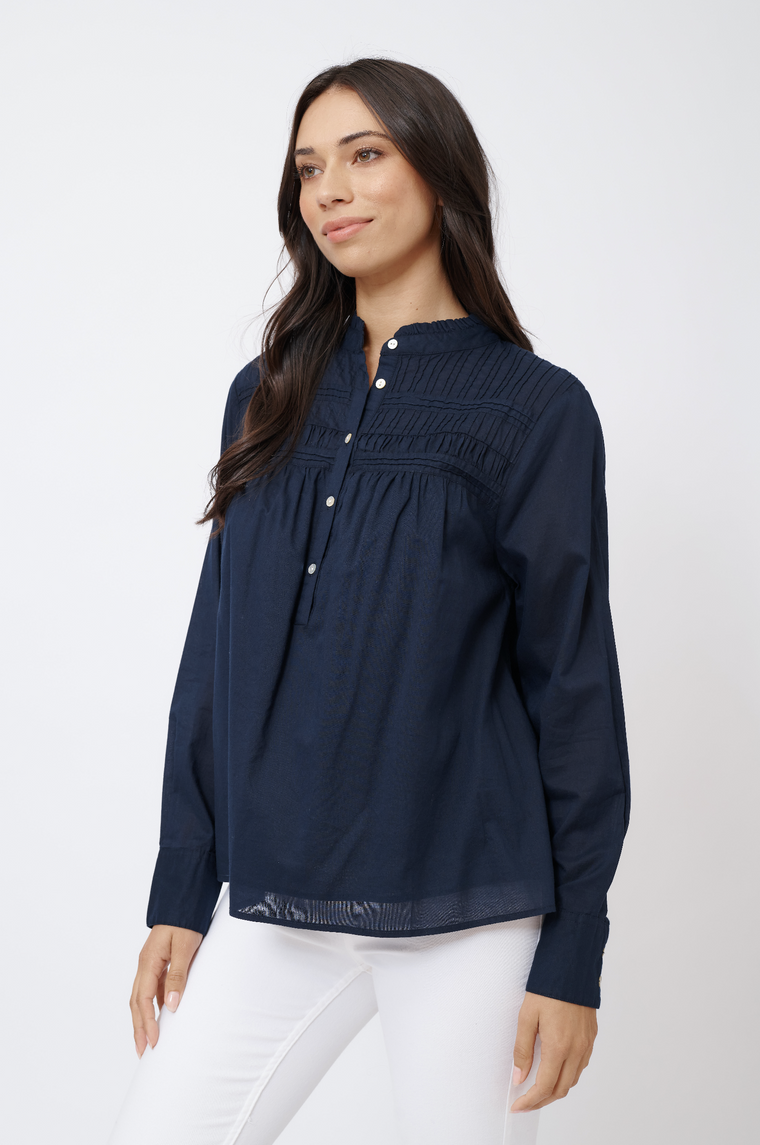LEILANI COTTON VOILE TOP IN NAVY