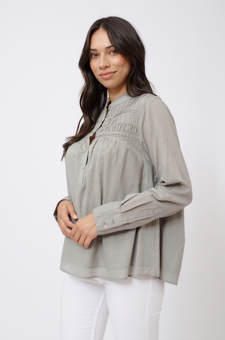 LEILANI COTTON VOILE TOP IN SAGE
