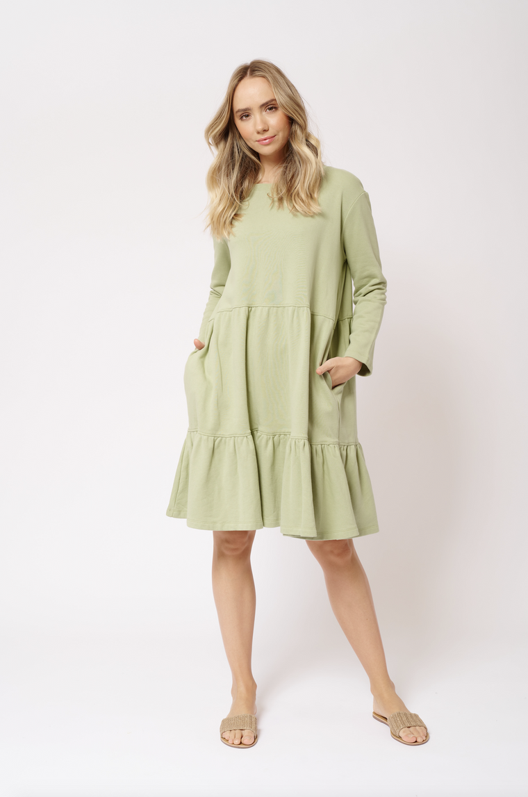 MILLIE COTTON DRESS IN SAGE