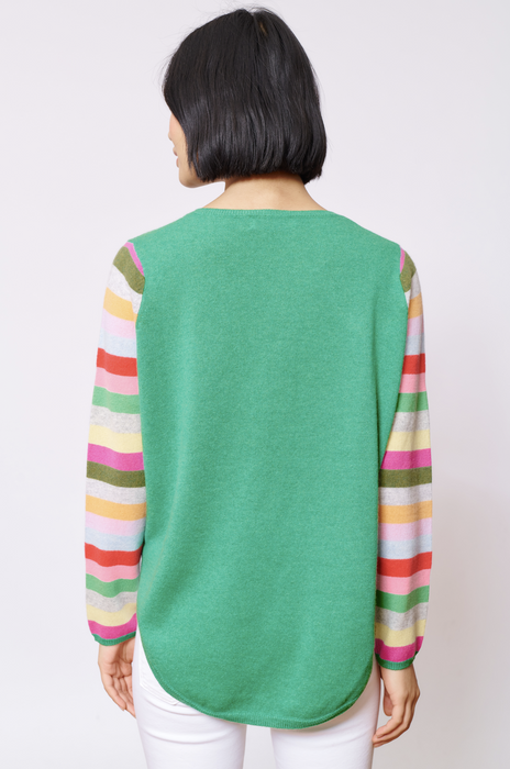 CANDY SLEEVE CASHMERE SWEATER IN PINE