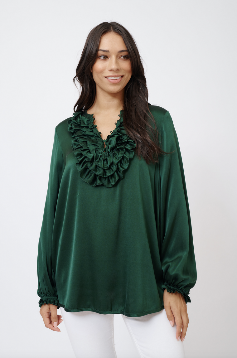 KEIRA SILK SHIRT IN FOREST