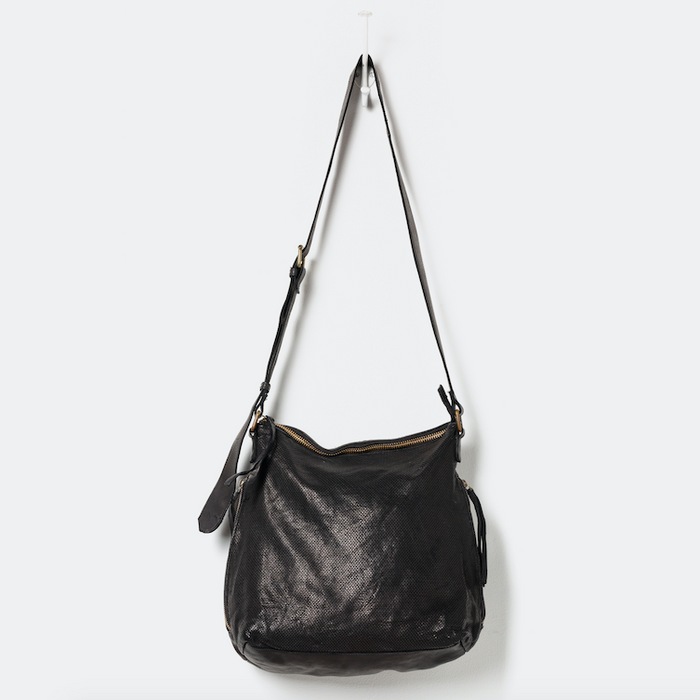 Perforated Leather Slouchy Black