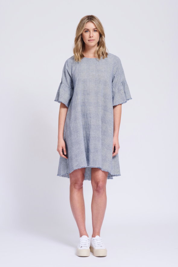 ALESSANDRA  FRAYED EDGE DRESS IN BLUE PRINCE  Regular price $189.95
