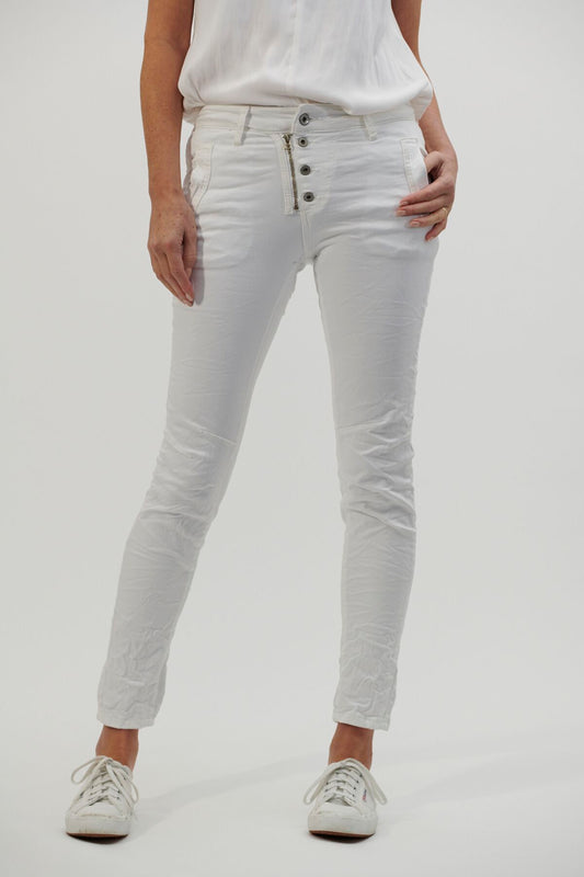 Button Jeans - White