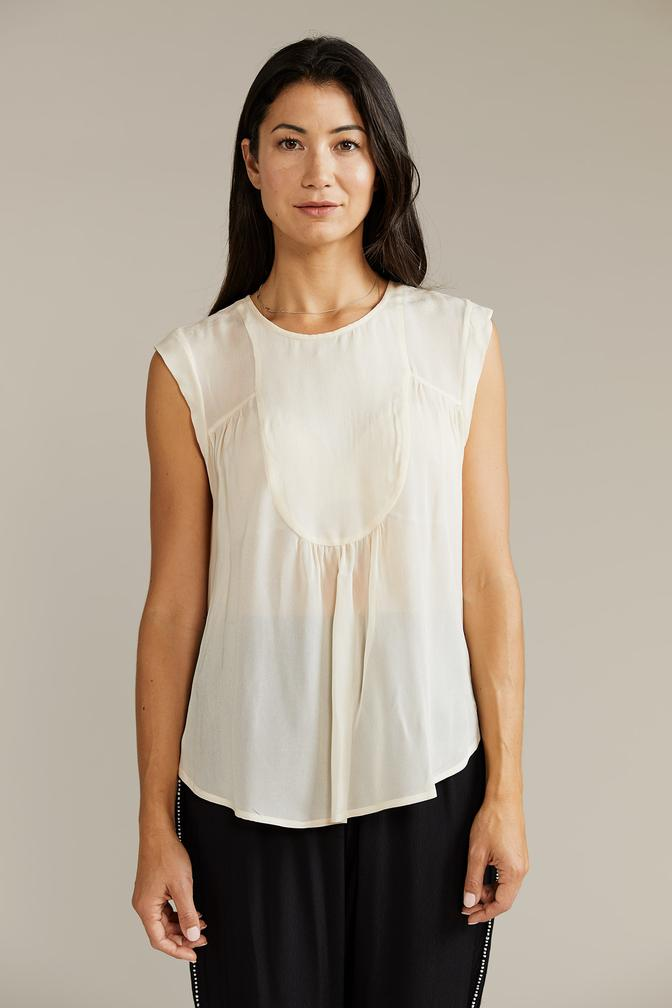 KELLIE BIB FRONT TOP WITH CAP SLEEVE in Butter