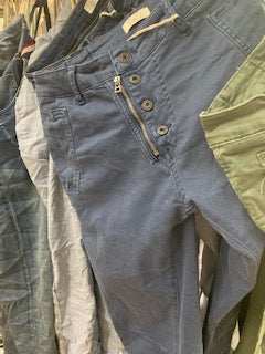 Italian Star Button Jeans- Blue