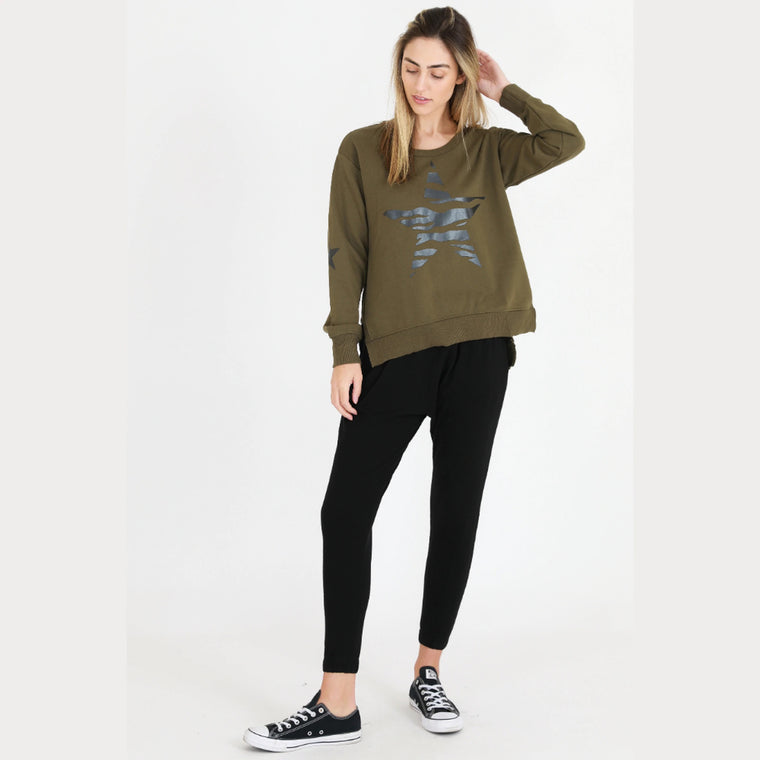 Zebra Star Sweater - Khaki