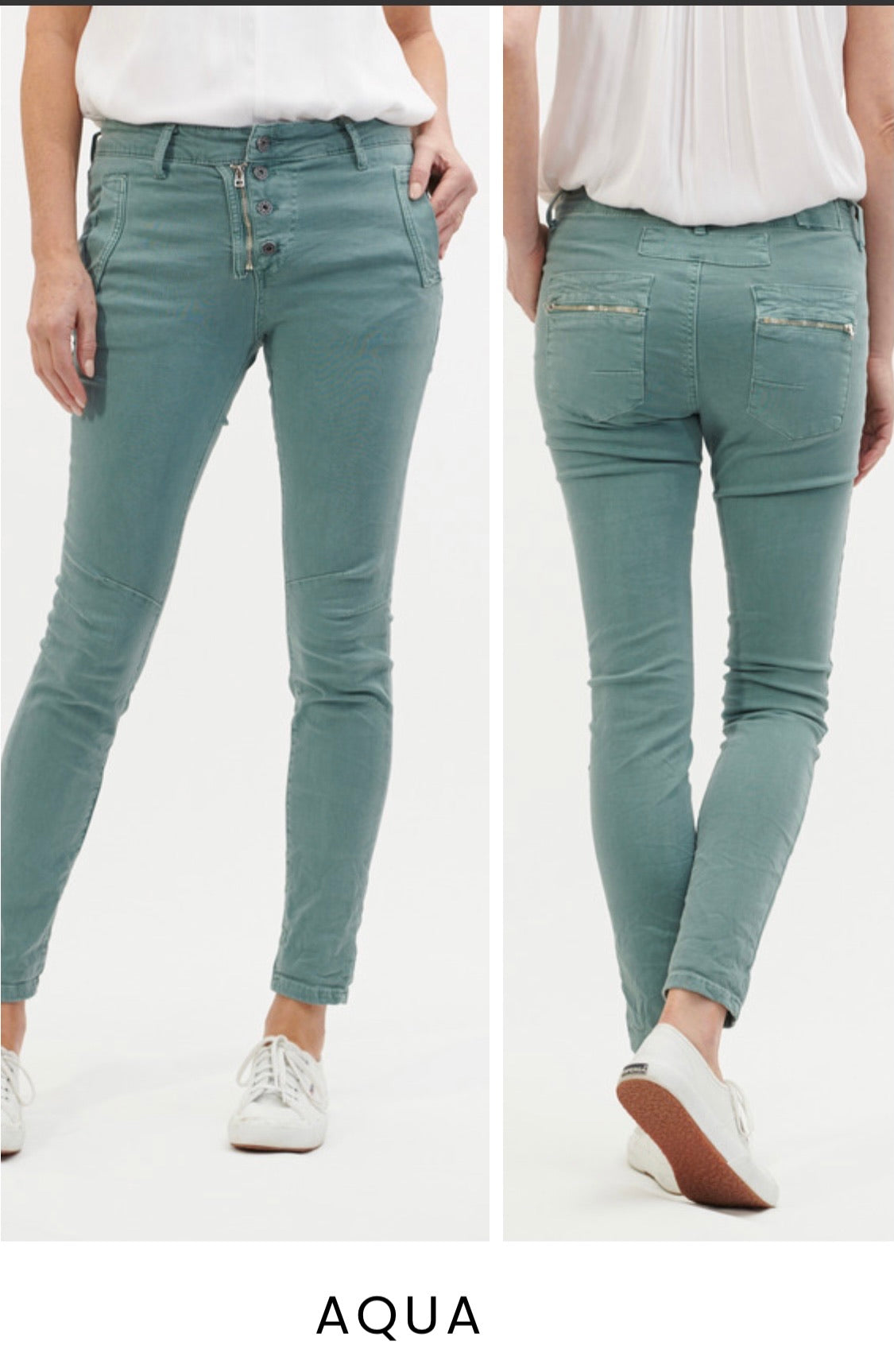 Button Jeans - Sea Foam