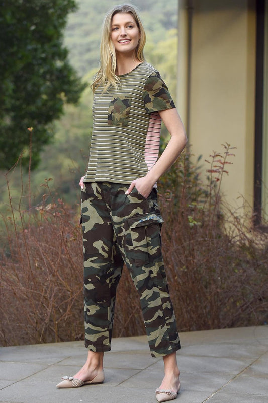 Lyrebird Top in Stripe Camo